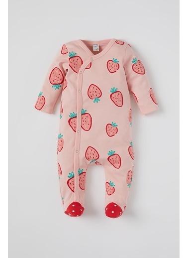 DeFacto Kız Bebek Çilek Desenli Uzun Kol Patikli Tulum Pembe